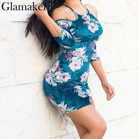 Glamaker Sexy Cold Shoulder Velevt Bodycon Dress Women Floral Print Split Mini Dress Winter Halter Backless