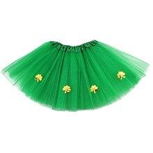 St. Patrick's Day Tutu Skirt Girl Pettiskirt Shamrocks Children Show Dance Skirt For Short Tutu Girls цена 2017