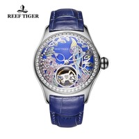 Reef Tiger Top Brand Luxury Women Watches Blue Leather Strap Diamond Analog Mechanical Watches Steel Sport Watches RGA7105