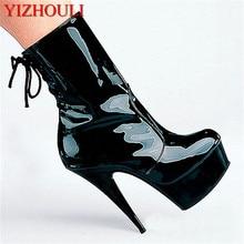 Mode sexy ridder vrouwelijke dames 6 inch hoge hakken platform 15cm paaldansen enkellaars herfst winter schoenen