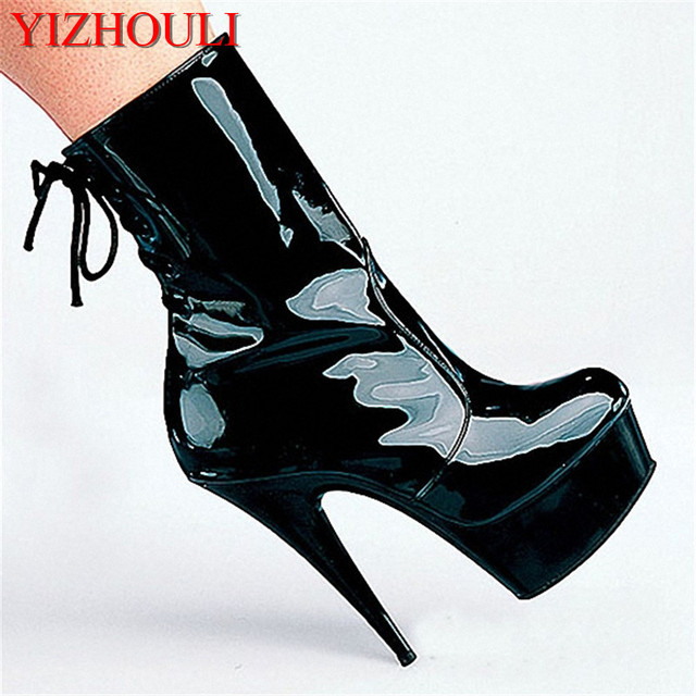 fashion sexy knight female ladies 6 inch high heels platform 15cm pole dancing ankle boots autumn winter shoes