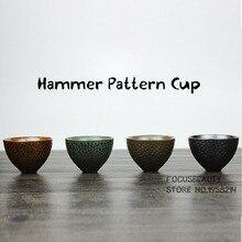 Kreative Retro Handgemachten Ofen Ändern Drink Keramik Hammer Muster Groben Keramik Tee-Tasse Schüssel Kung Fu Puer Oolong Teetasse 50 ml
