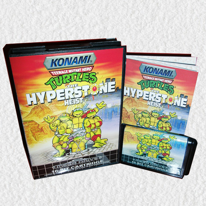 Turtles the Hyperstone Heist EU Cover with Box and Manual for Sega MegaDrive Video Game Console 16 bit MD card