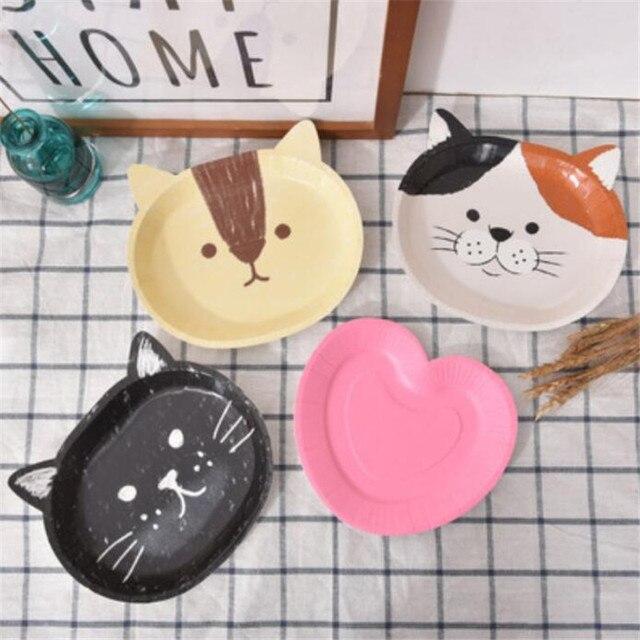 8 יח\חבילה חמוד חתול נייר צלחות ספקי צד מסיבת יום הולדת קישוטי ילדים תינוק מקלחת קריקטורה חמה נייר צלחת ספק