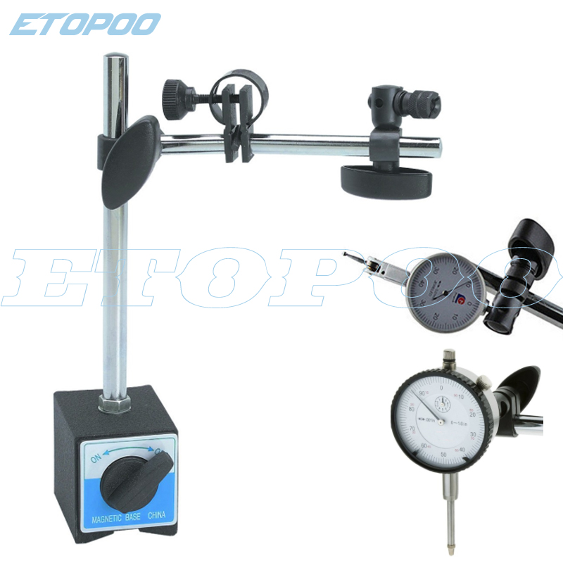 Magnetic Base Holder With Double Adjustable Pole For Dial Indicator Test Gauge Flexible Magnetic Stand Holder