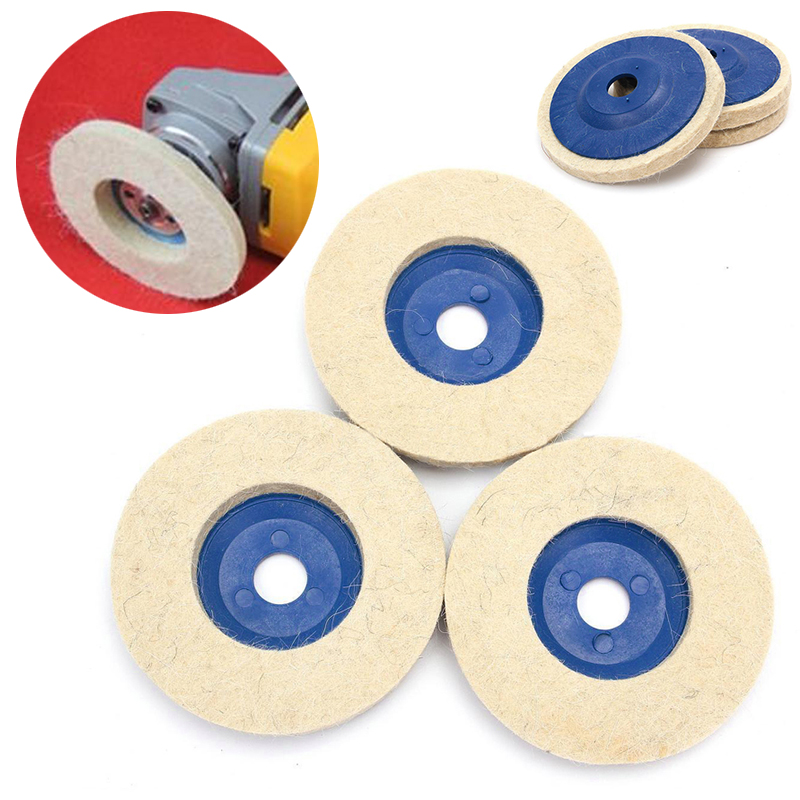3pcs 4inch Wool Polishing Wheel Buffing Wheel Grinder Felt Polishing Discs Pads for Wood Polishing Metal Abrasive Wheels 9pcs polishing kit dome goblet cylinder mop buffing wheel compound f metal polish 38mm 50mm 60mm