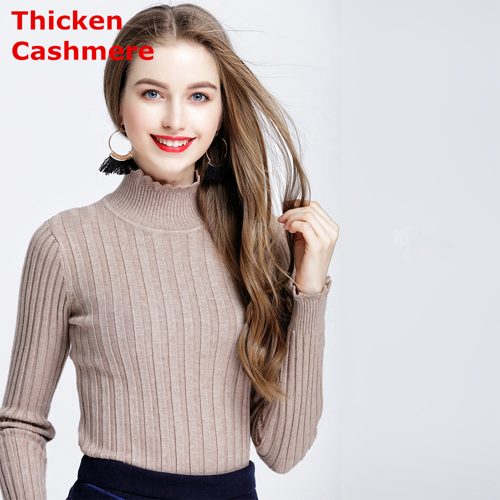 High Quality Women Thick Wool Sweater New Turtleneck Pullover Winter Tops Solid Cashmere Sweater Autumn Female Sweater Hot Sale