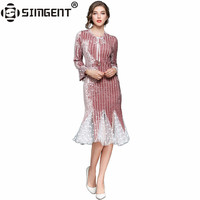 Simgent Woman Dress Velvet Women Spring Patchwork Polka Dot Stripe Trumpet Dress Vestidos Pinup Robe Femme Kleider Damen SG71122