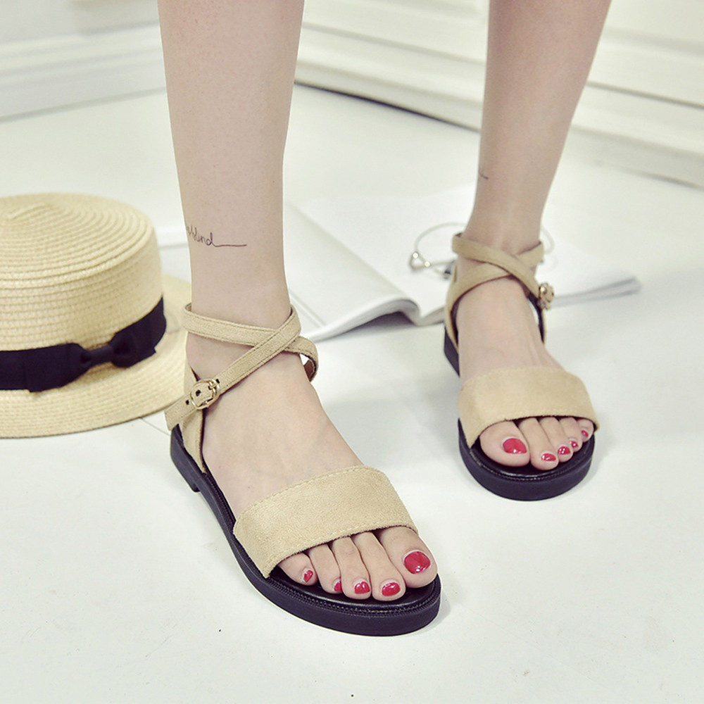 mokingtop summer shoes women flat sandals Women Fashion Solid Color Hasp Flat Heel Peep Toe Rome Shoes Sandals @@ 10pcs rjp4301app rjp4301 to 220f 430v