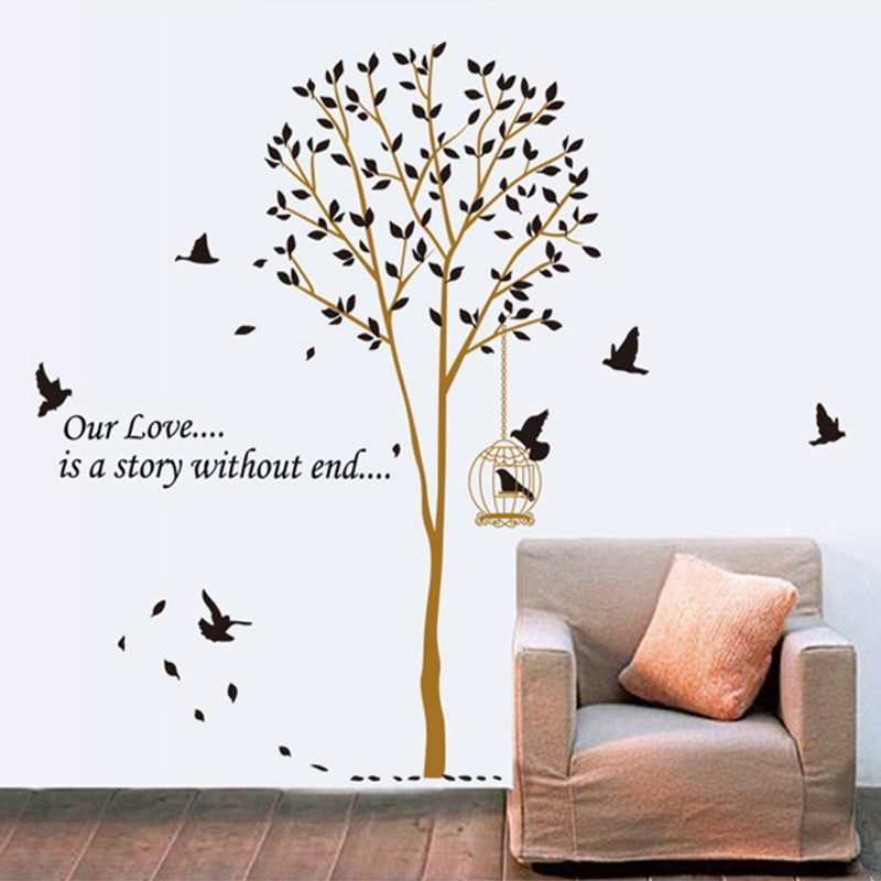 diy large Black Birdcage Birds Brown Tree wall dacals Sticker living room bedroom TV background removable print poster