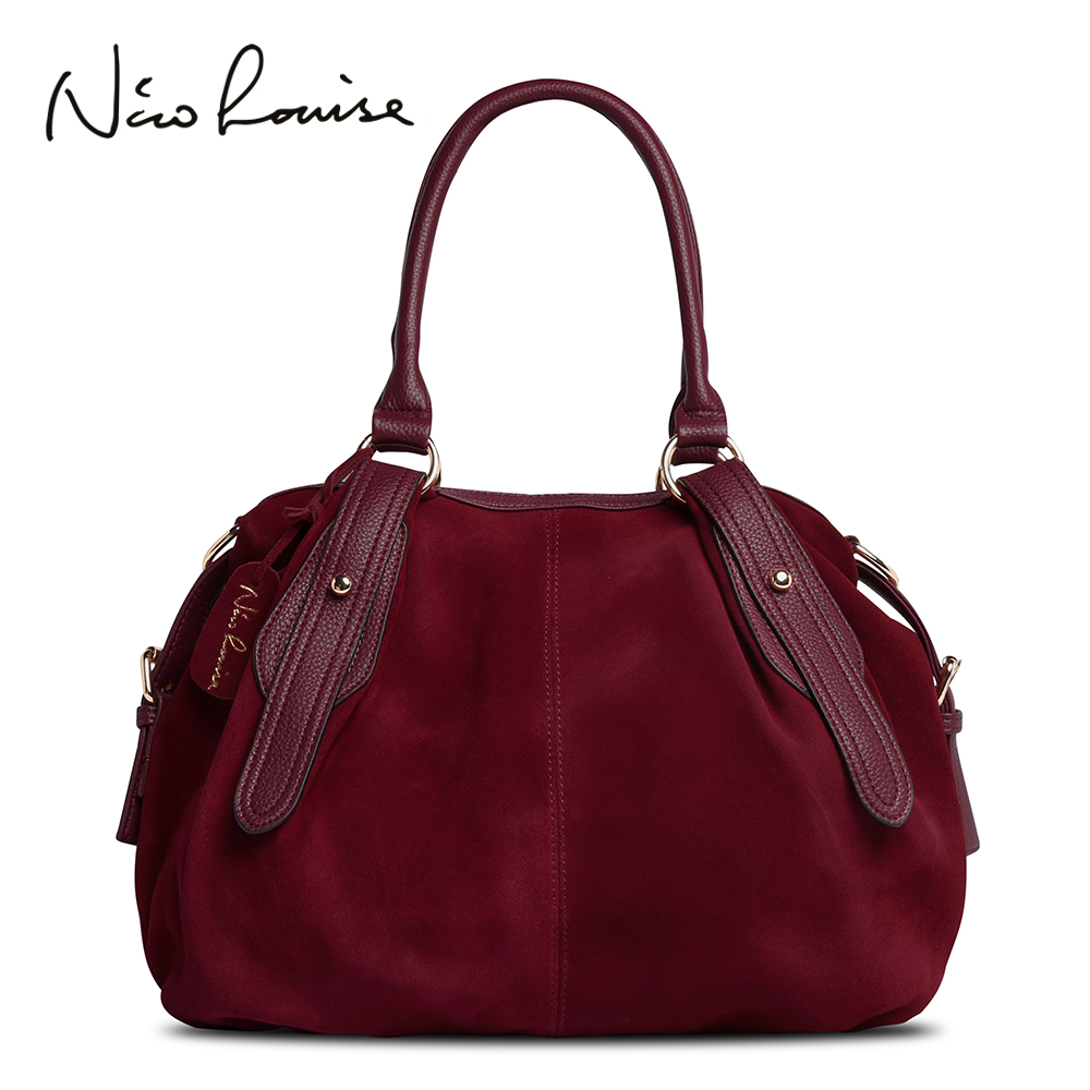 Nico Louise Women Real Suede Leather Boston Bag Original Design Lady Shoulder Traveling Doctor Handbag Top