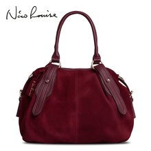 Nico Louise Women Real Suede Leather Boston Bag Original Design Lady Shoulder Traveling Doctor Handbag Top handle Bags Sac
