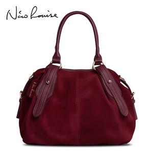 Image 1 - Nico Louise Women Real Suede Leather Boston Bag Original Design Lady Shoulder Traveling Doctor Handbag Top handle Bags Sac