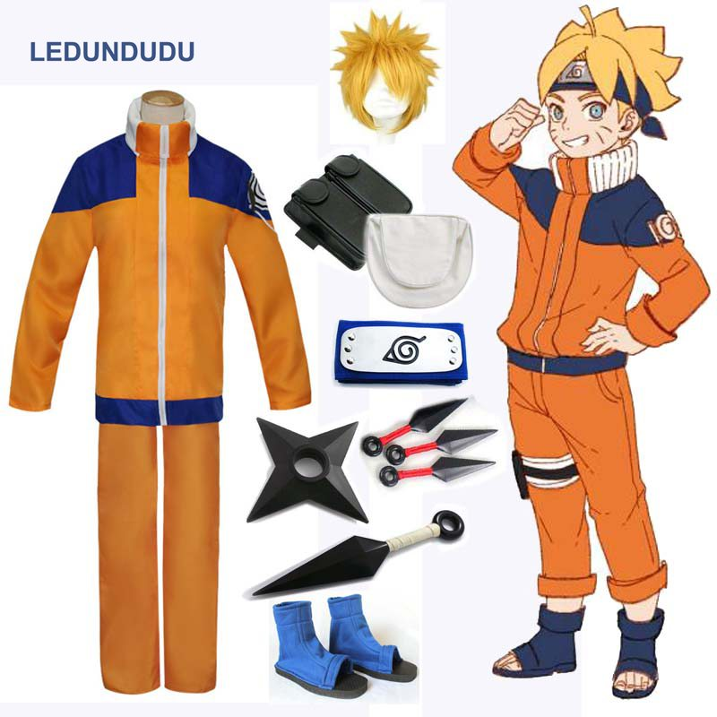 Naruto Shippuden Uzumaki Naruto 1st Cosplay Costumes Adult Men Fancy Party Uniform Outfit with Weapon Props for Halloween