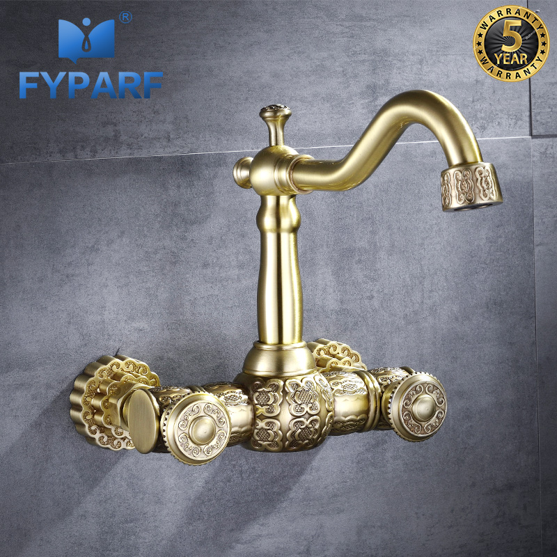 FYPARF Bathroom Wall Water Mixer Faucet Sink Faucet Mixer Tap Brass Taps Golden Vintage Sinks Bathroom Tap Hot and Cold Faucets