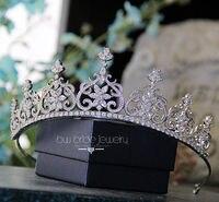 Luxuoso Joias Cubic Zirconia Crown para Mulheres Acessorios Para o Cabelo Tiaras De Cristal para Presentes de Natal Do Casamento