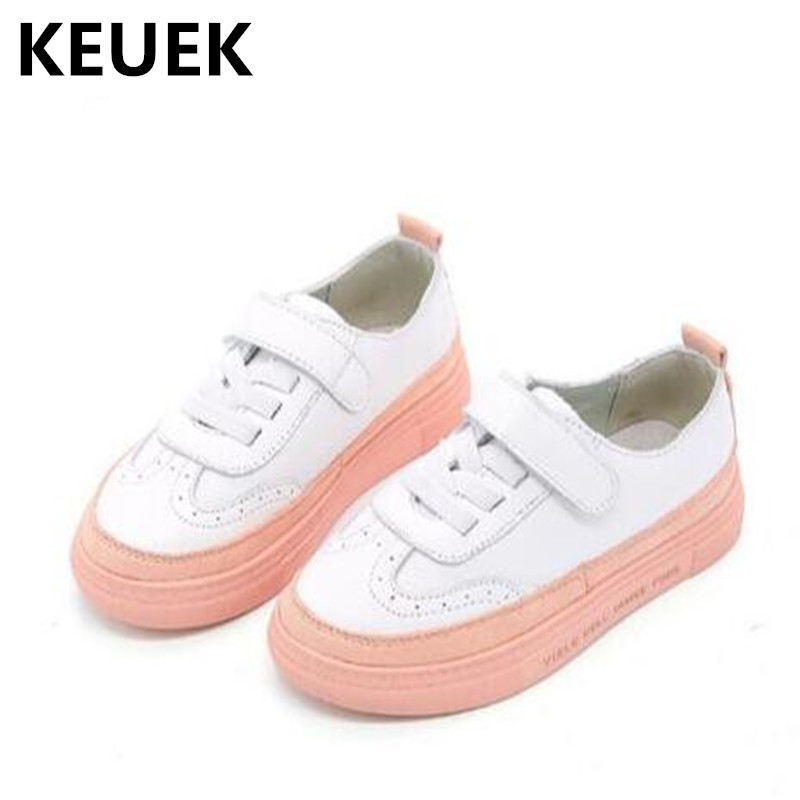 NEW Spring/Autumn Genuine Leather Children Sports Shoes Boys Girls Breathable Student Casual Shoes Kids White Sneakers 044 new arrival 2016 spring models children sports shoes kids comfort shoes girls and boys fashion sneakers student running shoes