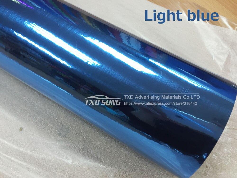Хорошее качество Высокая эластичный Водонепроницаемый УФ-защитой фиолетовый chrome зеркало винил Обёрточная бумага Простыни roll Плёнки автомобиля Стикеры наклейка Простыни - Название цвета: LIGHT BLUE