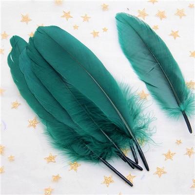 Натуральные лебединые перья 14-20 см, многоцветные гусиные перья, шлейф для рукоделия, свадебных украшений, рукоделия, украшения для дома, 50 шт - Цвет: dark green 50pcs