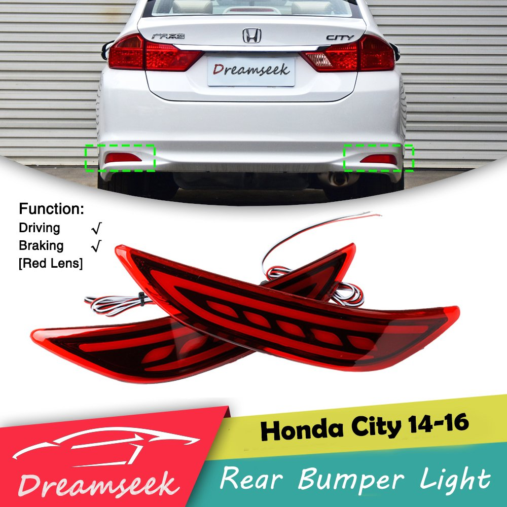 Red LED Rear Bumper Tail Light For Honda City 2014 2015 2016 Brake Signal Lamp