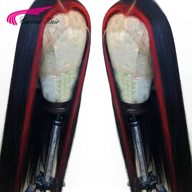 Carina Brazilian Straight Remy 13x6 Lace Frontal Human Hair Wigs Pre Plucked Glueless Wigs With Highlight