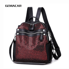 2019 New Sequin Backpack Female Fashion Small Young Lady Simple Institute Style Bagpack Girl Trend Bag Solid Color