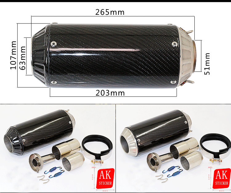 Universal 51mm Motorcycle Exhaust pipe Carbon Fibre Muffler For Yamaha YZFR1 YZFR6 YZF600 FZ400 CF150 CF250 JFR1300 MT03 MT07 sexy hair спрей для термозащиты средней фиксации 7 4 150 мл