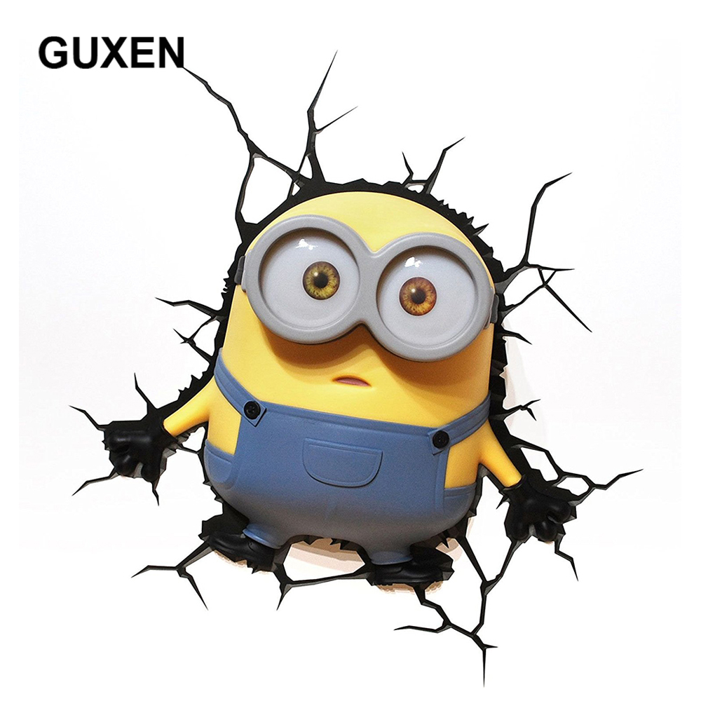 GUXEN 2 Minions Bob 3D Cartoon Creative Deco TOYS Wall Sticker LED night light for Children Gifts kids bed led lamp lighting m sparkling td303 creative cartoon 3d led lamp page 8