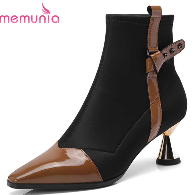 MEMUNIA 2018 top quality patent leather autumn boots women pointed toe fashion Stretch high heels shoes ladies ankle boots MEMUNIA 2018 top quality patent leather autumn boots women pointed toe fashion Stretch high heels shoes ladies ankle boots