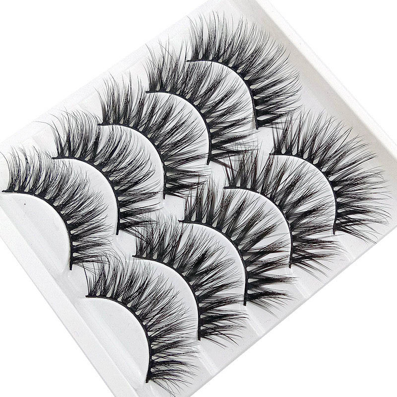 5 Pairs Pack 3D Thick And Soft Fake Eyelashes False Lashes Black Nature Fluffy Long Soft Reusable JIU55 in False Eyelashes from Beauty Health