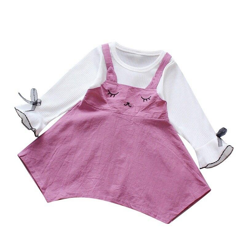 Baby Girl Princess Dress Fake 2 Piece Toddler Irregular Design Long Sleeve Cotton dress for baby girl in Dresses from Mother Kids