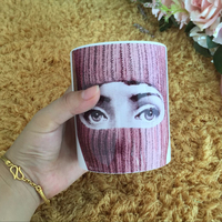 Piero Fornasetti Bone China Coffee Cups Ceramic Tea Cup Heat Sensitive Coffee Milk Tea Mug Transforming
