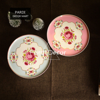 European Flowers Golden Decoration Cake Tray/ Tall Dessert Tray/ Afternoon Tea Plate Wedding Decorations 1pc/lot