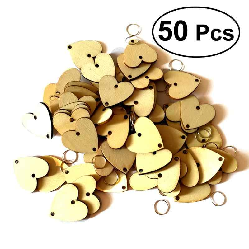 50pcs Heart Wooden Slices For Birthday Reminder Hanging Wooden Plaque Board DIY Calendar Accessories Home Decoration