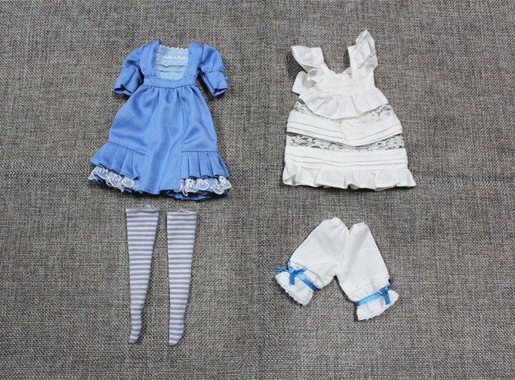 Blygirl Блит куклы Синий и белый наряд горничной, платья, фартуки, Шорты и чулки