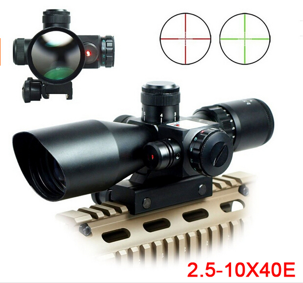 ФОТО 2.5-10X40 Riflescope w/ Red Laser Sight Red Green Illuminated Rifle scope with Laser Combo for Hunting FREE SHIPPING