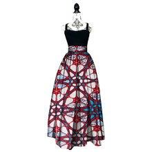 Women African Print Long Skirt Ankara Dashiki High Waist A Line Maxi Long Umbrella Skirt Ladies Clothing BRW WY1744