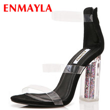 ENMAYLA Transparent Shoes Woman High Heels Open Toe Gladiator Sandals Zipper Ankle Strap Plus Size 34-47 Crystal Heel Shoe