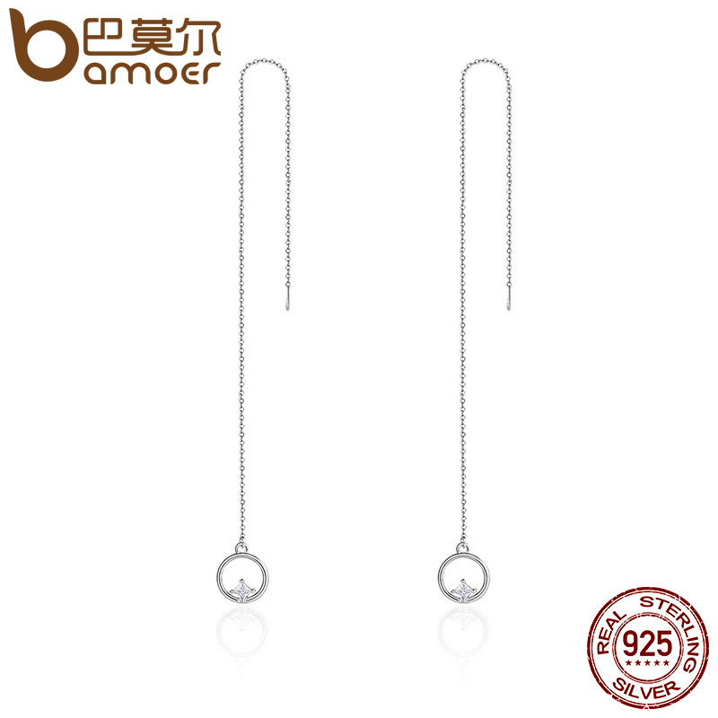 BAMOER Luxury 925 Sterling Silver Geometric Long Tassel Circle AAA Zircon Drop Earrings for Women Sterling Silver Jewelry SCE080 цена 2017