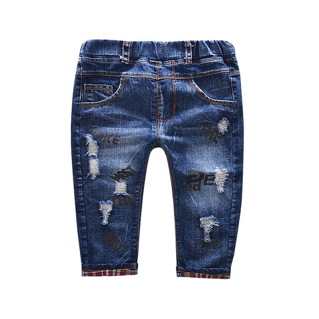 2016 Autumn new Korean hole printed denim trousers pants boys and girls jeans  baby boy clothes