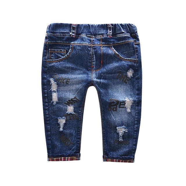 2016 Otoño nuevo agujero Coreano impreso pantalones vaqueros pantalones chicos y chicas jeans bebé ropa