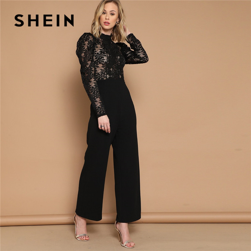 SHEIN Black Puff Sleeve Mock-Neck Long Sleeve Lace Women Jumpsuit Spring Stand Collar High Waist Wide Leg Sexy Jumpsuit