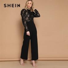 SHEIN Black Puff Sleeve Mock Neck Long Sleeve Lace Women Jumpsuit Spring Stand Collar High Waist Wide Leg Sexy Jumpsuit