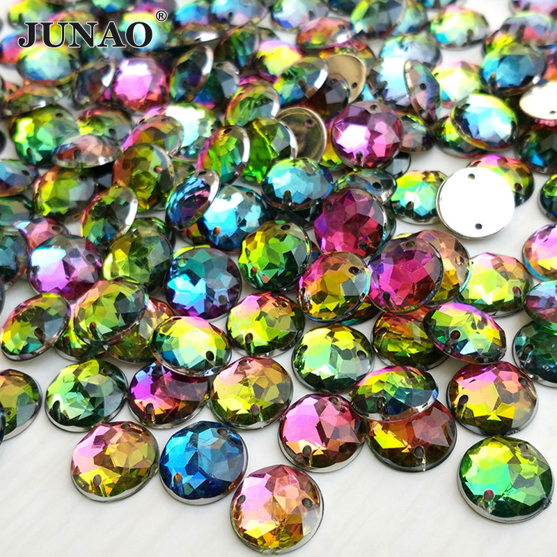 Junao 10mm rainbow color sewing acrylic crystals for Colored stones for crafts