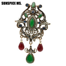 Sunspice MS Vintage Bros Perhiasan Elegan Desain Unik Batu Alam Indian Wanita Antique Emas Warna Resin Bunga Korsase Pin(China)