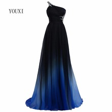 Sexy Criss-Cross Back One Shoulder Ombre Blue Black Red Chiffon Long Prom