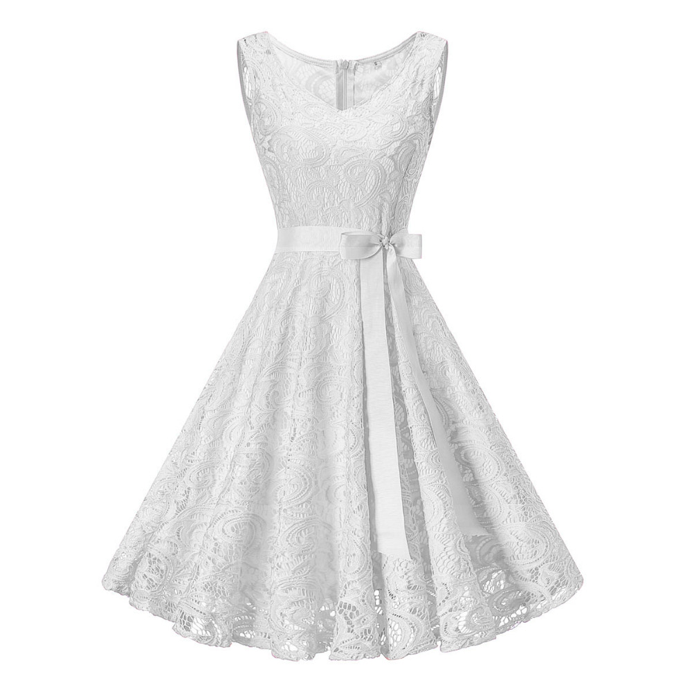 Vintage White Floral Lace Tunic Dress Women Sleeveless V-Neck Elegant Party Sexy Dresses Retro 50s Summer Robe Big Swing Dress(China)