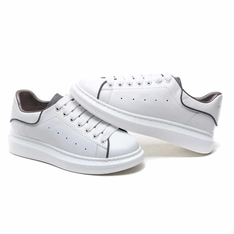 ASUMER 2019 yeni hakiki deri ayakkabı erkekler kadınlar sneakers yansıtıcı tasarım lace up platformu düz ayakkabı rahat küçük beyaz ayakkabı