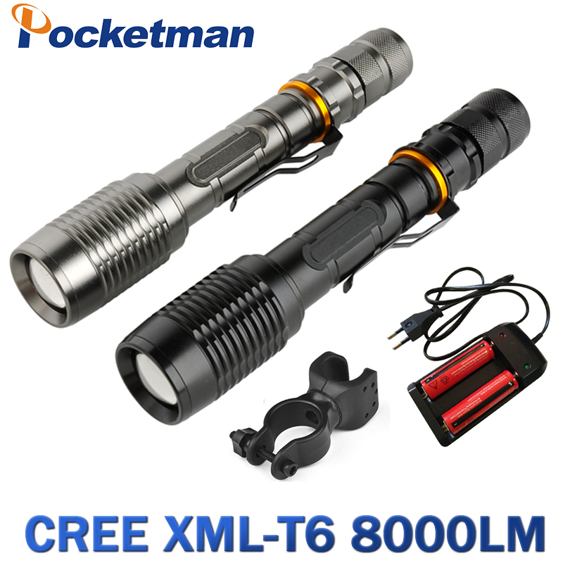 8000LM led xml- T6 Zoom Flashlight Torch Zoomable Bike Lamp Light Lampe Torches Lantern + 18650 Battery + Charger +Bike clip sitemap 49 xml