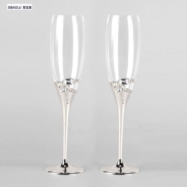 Wine Glasses Set Champagne Wedding With Clear Diamond Flutes Toasting Goblet Gift